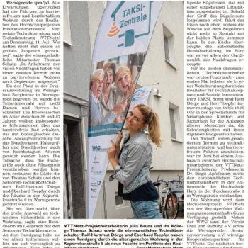 Bericht im Generalanzeiger Wernigerode über die Fürhung durch das Reallabor des Projektes VTTNetz vom 27./28.07.2019