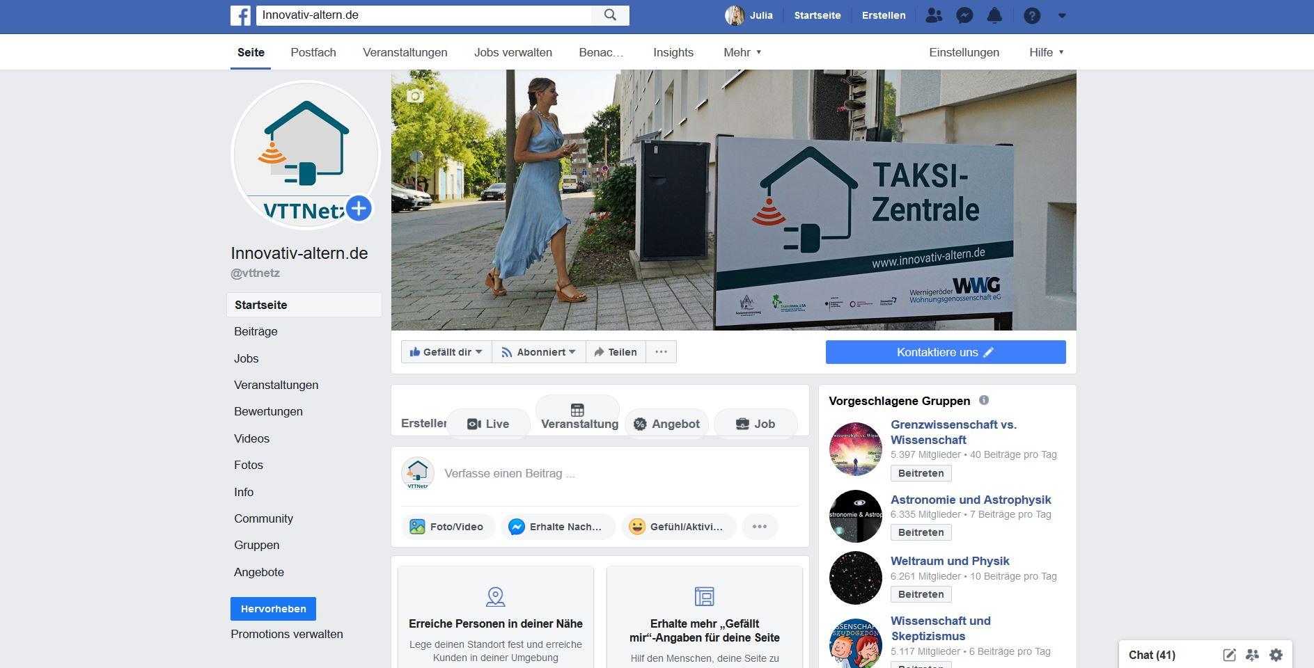 Das Facebook-Profil des Projektes Innovationsnetzwerk Vernetzte Techniknutzung und Technikberatung an der Hochschule Harz.