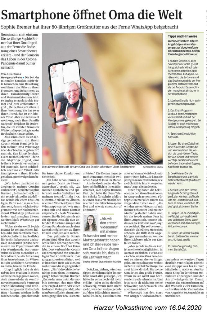 Bericht in der Harzer Volksstimme über unsere ehrenamtliche Technikbotschafter Sophie Bremer aus Peine, die ihrer Oma WhatsApp übers Telefon beigebracht hat.