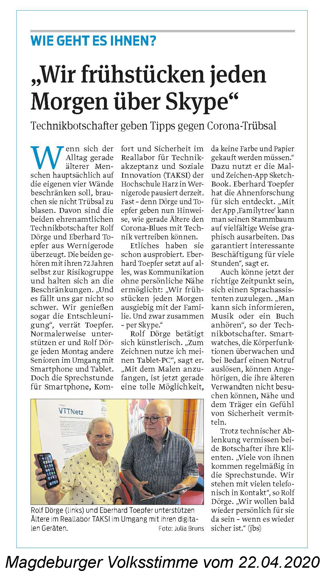 Magdeburger Volksstimme vom 22.04.2020
