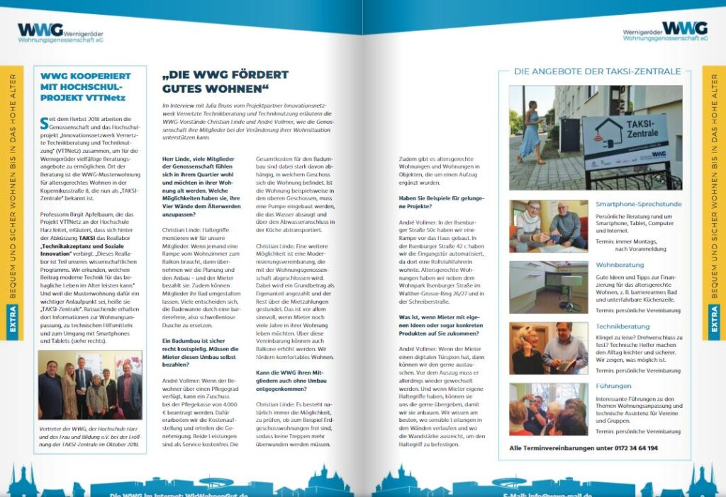 Seite aus der Mieterzeitschrift der Wernigeröder Wohnungsgenossenschaft eG, Ausgabe Sommer 2020.