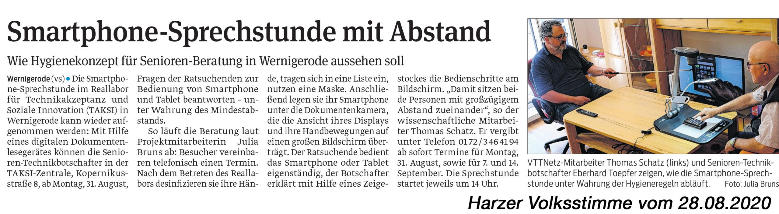 Ankündigung der Smartphone-Sprechstunde in der Harzer Volksstimme vom 28.08.2020
