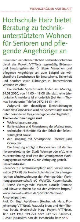 Artikel aus dem Amtsblatt der Stadt Wernigerode vom 09/20
