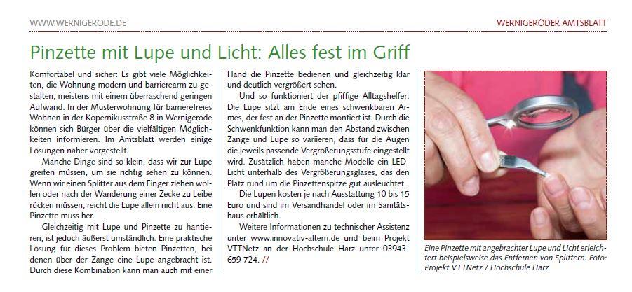 Artikel aus dem Amtsblatt der Stadt Wernigerode vom 12/20