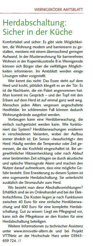 Artikel aus dem Amtsblatt der Stadt Wernigerode vom 10/20