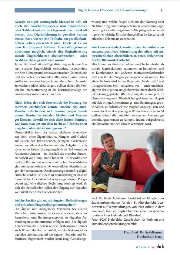 Birgit Apfelbaum im Interview mit dem Landesseniorenrat Baden-Württemberg über ihre Arbeit in der Expertenkommission zum Achten Altersbericht.