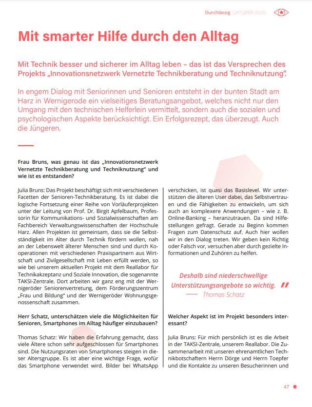 Interview mit VTTNetz-Mitarbeitern Thomas Schatz und Julia Bruns, erschienen im Science Talk-Magazin im Herbst 2020