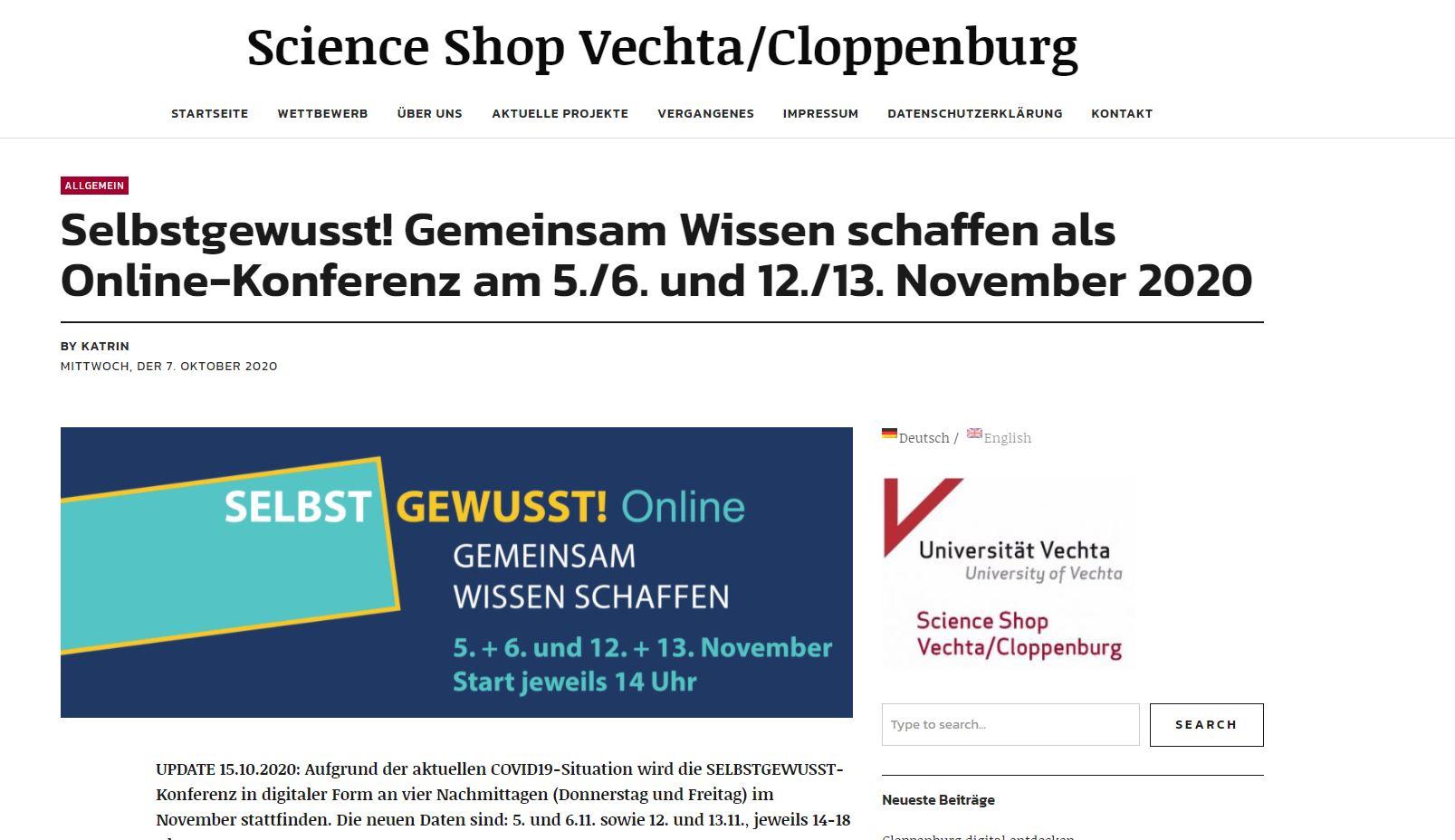 VTTNetz hat sich an der selbstgewusst-Konferenz in Cloppenburg mit einem Video beteiligt.