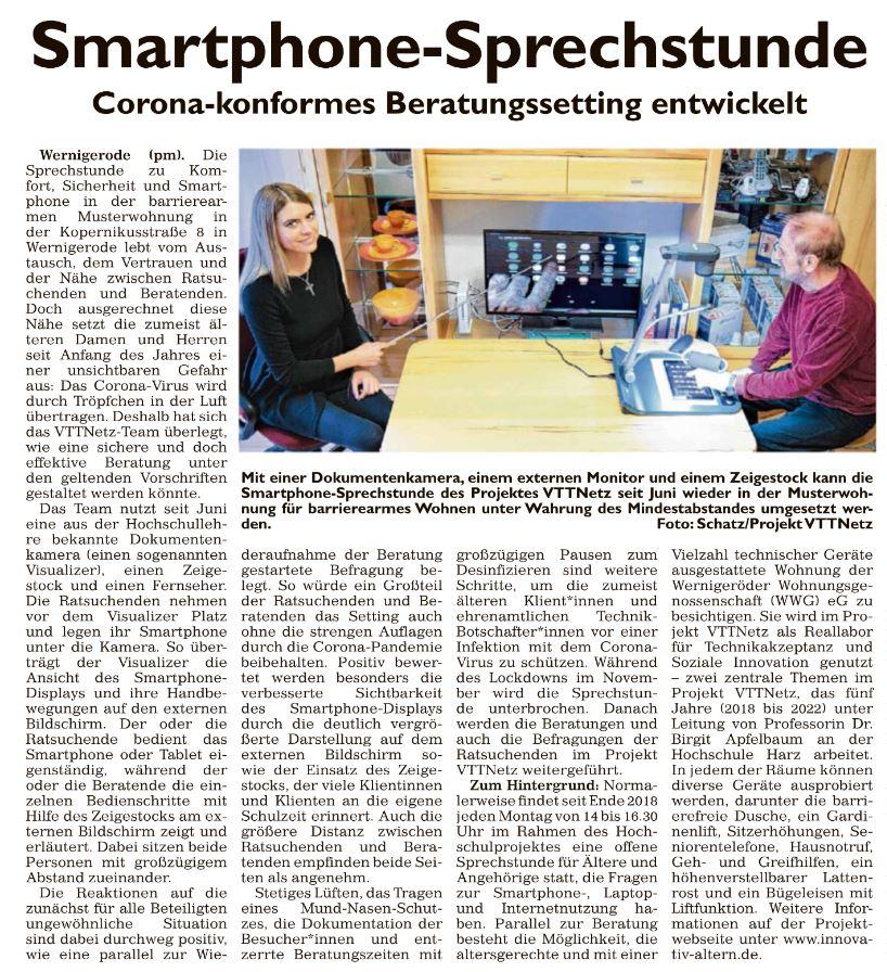 Artikel aus dem Generalanzeiger, Ausgabe Wernigerode, vom 02.12.2020